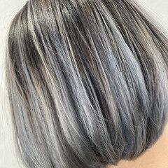 バレイヤージュ モード スライシングハイライト ボブ ヘアスタイルや髪型の写真・画像