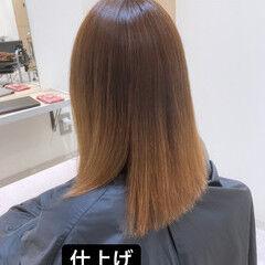 くせ毛 縮毛矯正 ミディアム ツヤ髪 ヘアスタイルや髪型の写真・画像