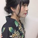 フェミニン 黒髪 ヘアアレンジ 浴衣ヘア