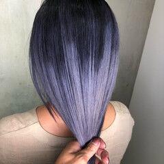 青紫 紫 ミディアム グラデーションカラー ヘアスタイルや髪型の写真・画像