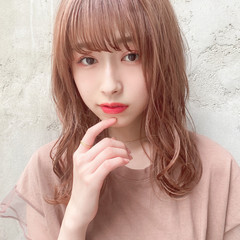 セミロング 韓国ヘア デート ヘアアレンジ ヘアスタイルや髪型の写真・画像