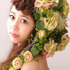 成人式 結婚式 結婚式ヘアアレンジ お花ヘア ヘアスタイルや髪型の写真・画像