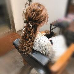 フェミニン ローポニーテール ヘアセット ロング ヘアスタイルや髪型の写真・画像