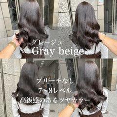 グレージュ エレガント ツヤ髪 ブリーチなし ヘアスタイルや髪型の写真・画像