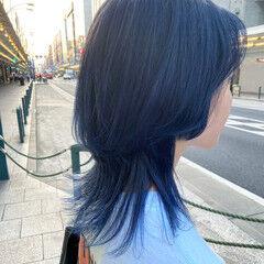 マッシュウルフ ブルーバイオレット ミディアム ネイビーブルー ヘアスタイルや髪型の写真・画像