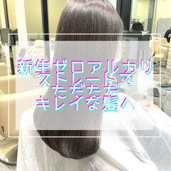 グレージュ 縮毛矯正 髪質改善 ブリーチなし ヘアスタイルや髪型の写真・画像