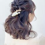 結婚式ヘアアレンジ 編み込み ミディアム 結婚式髪型