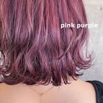 ブリーチカラー 韓国ヘア ダブルカラー ピンクパープル