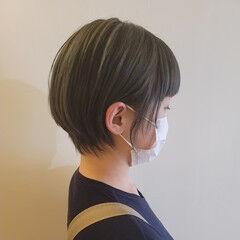 ハイトーンカラー グリーン ショートヘア ショート ヘアスタイルや髪型の写真・画像