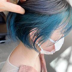ターコイズブルー ストリート ボブ 透明感 ヘアスタイルや髪型の写真・画像
