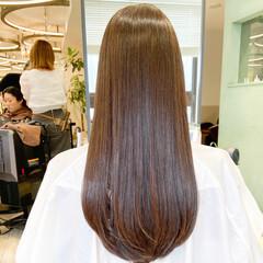 小顔 ロング ナチュラル 最新トリートメント ヘアスタイルや髪型の写真・画像