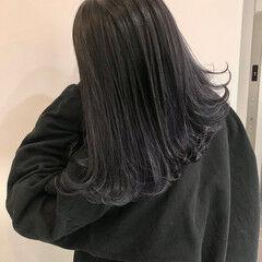 モード セミロング 切りっぱなしボブ 暗髪 ヘアスタイルや髪型の写真・画像