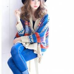 外国人風 セミロング ガーリー 秋 ヘアスタイルや髪型の写真・画像