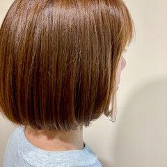 ワンレン イルミナカラー グレージュ ミニボブ ヘアスタイルや髪型の写真・画像