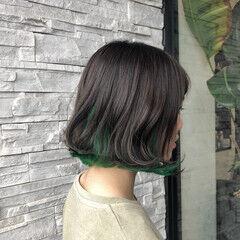 インナーカラー ブルージュ ボブ 透明感カラー ヘアスタイルや髪型の写真・画像