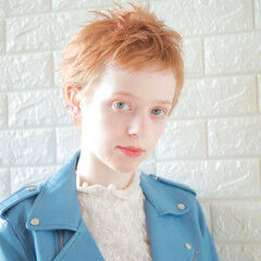 モード 春ヘア オレンジカラー ショート ヘアスタイルや髪型の写真・画像