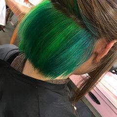 マニパニ インナーブルー 派手髪 ストリート ヘアスタイルや髪型の写真・画像