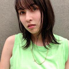 レイヤーボブ ミディアム ナチュラル 地毛風カラー ヘアスタイルや髪型の写真・画像
