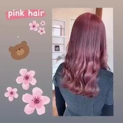 セミロング ピンク かわいい モテ髪 ヘアスタイルや髪型の写真・画像