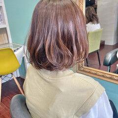 ボブ ナチュラル ピンクベージュ モカブラウン ヘアスタイルや髪型の写真・画像