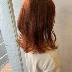 パステルカラー セミロング ワンレンベース ワンレングス ヘアスタイルや髪型の写真・画像