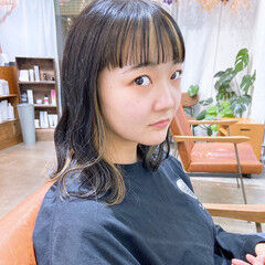 ナチュラル ミディアム インナーカラー ワイドバング ヘアスタイルや髪型の写真・画像