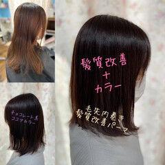 毛先パーマ グラデーションカラー フェミニン 髪質改善カラー ヘアスタイルや髪型の写真・画像