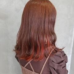 オシャレ オレンジカラー アプリコットオレンジ オレンジブラウン ヘアスタイルや髪型の写真・画像