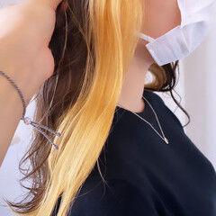 可愛い ロング ナチュラル ハニーイエロー ヘアスタイルや髪型の写真・画像