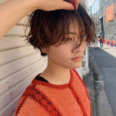 サロンモデル ショート ヘアメイク ナチュラル ヘアスタイルや髪型の写真・画像