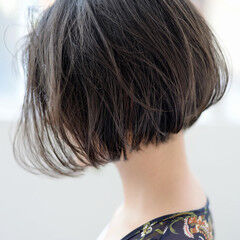 切りっぱなしボブ ショートボブ ワンレングス ショート ヘアスタイルや髪型の写真・画像