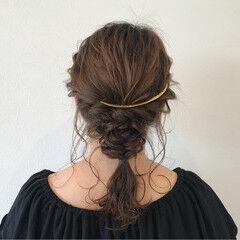 ナチュラル ヘアアレンジ ポニーテール ミディアム ヘアスタイルや髪型の写真・画像