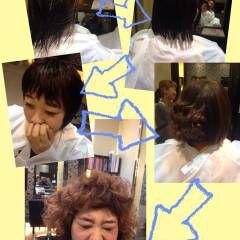 ショート オン眉 ウェーブ ストリート ヘアスタイルや髪型の写真・画像