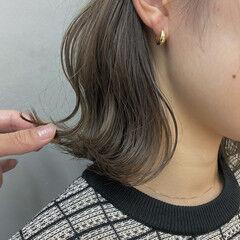 グレージュ ボブ 透明感カラー ナチュラル ヘアスタイルや髪型の写真・画像