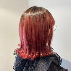 ガーリー レッドブラウン レッドカラー チェリーレッド ヘアスタイルや髪型の写真・画像