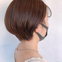 アプリコットオレンジ ショートヘア ミニボブ ショート ヘアスタイルや髪型の写真・画像