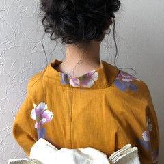 フェミニン お洒落 セミロング ヘアアレンジ ヘアスタイルや髪型の写真・画像