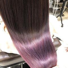 パープル ロング ラベンダー ラベンダーピンク ヘアスタイルや髪型の写真・画像
