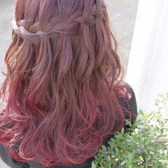 ウォーターフォール フェミニン セミロング ピンク ヘアスタイルや髪型の写真・画像