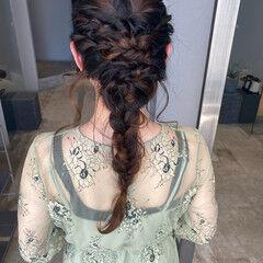 切りっぱなしボブ ロープ編みアレンジヘア 結婚式ヘアアレンジ ロング ヘアスタイルや髪型の写真・画像