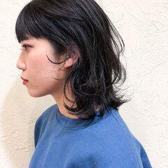 ウルフカット ワイドバング ナチュラルウルフ ボブウルフ ヘアスタイルや髪型の写真・画像