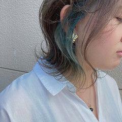 ブリーチカラー インナーカラー ボブ ナチュラル ヘアスタイルや髪型の写真・画像