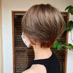 ショート ショートボブ ハイライト ショートヘア ヘアスタイルや髪型の写真・画像