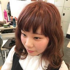 ベージュ ガーリー オン眉 ラベンダーピンク ヘアスタイルや髪型の写真・画像