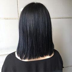 ネイビージュ ネイビー ネイビーアッシュ ナチュラル ヘアスタイルや髪型の写真・画像