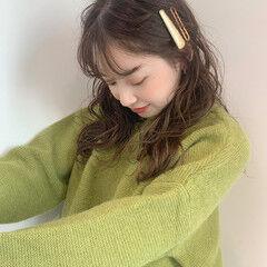 シースルーバング セミロング 簡単ヘアアレンジ 韓国ヘア ヘアスタイルや髪型の写真・画像
