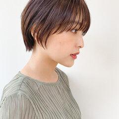 ショートヘア ショート ナチュラル ブリーチなし ヘアスタイルや髪型の写真・画像