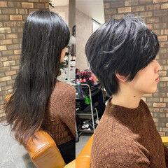 ショートヘア ヘアドネーション パーマ ナチュラル ヘアスタイルや髪型の写真・画像