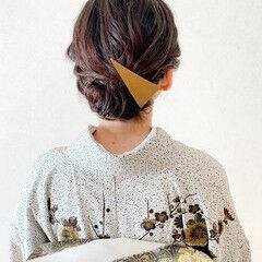 和装ヘア ミディアム エレガント 結婚式 ヘアスタイルや髪型の写真・画像