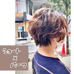 ナチュラル ショート パーマスタイル ショートヘア ヘアスタイルや髪型の写真・画像